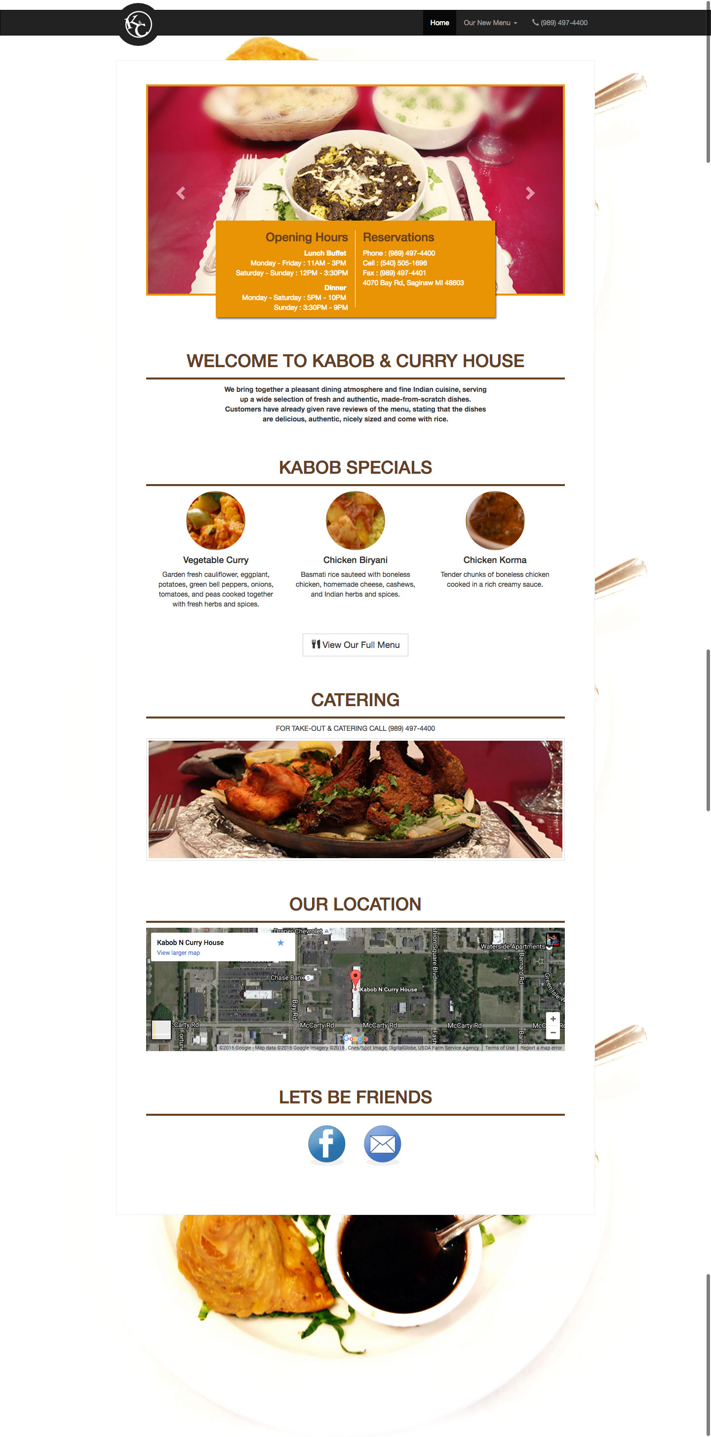 Restaurant Website Design for The Kabob and Curry House Indian Restaurant